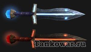 Варианты одного и того же меча для разных трансмогрификаций: «Серилас» - для красных оттенков, «Сабля бездны» - для голубовато-стальных.