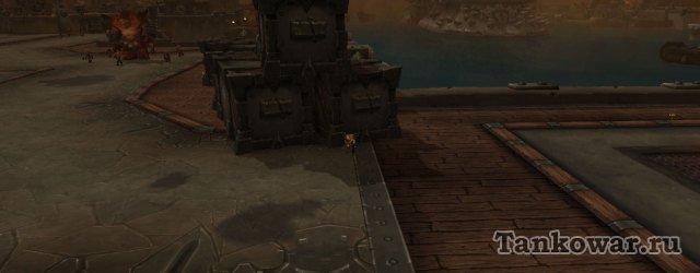 Вот так в Железных доках приходится прятаться от обстрела с корабля.