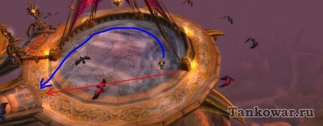Проходной маршрут бассейна ветров Небесного пути WoW - синяя стрелка, прыгательный - красная.