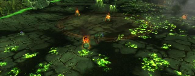 Вот так в этом сражении Цитадели Адского Пламени обозначается место, куда Железный Разоритель приземлится после своего полёта.