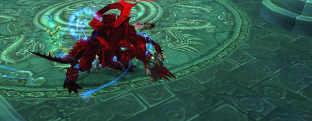 Спецэффекты World of Warcraft: дворец Могушан окрасил Геккана багрянцем. Справа видна лестница, возле которой любят стоять прибежавшие на огонёк мобы.