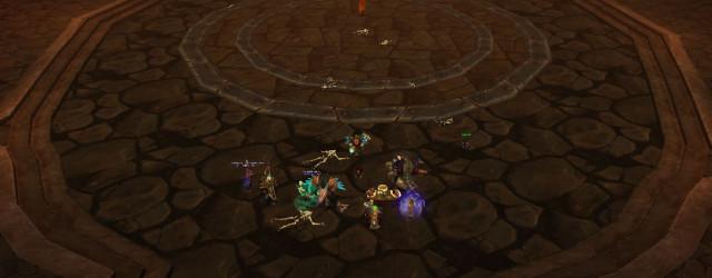 Оранжевый кристалл в центре зала, начинающий бой. И кости, наглядно демонстрирующие, что бывает с теми, кто жмёт на него без всякого представления о тактике Идеалов Клакси.